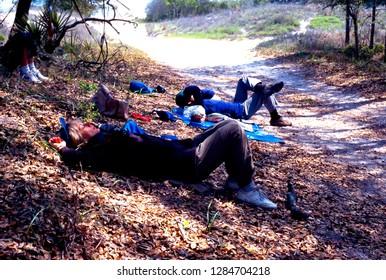 Blackbeard Island, Georgia, USA, Kayaking Blackbeard Creek, Kayaking group rests on Blackbeard Island, March 15, 1997