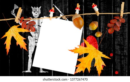 Blackbeard Pirate flag on autumn wooden background with leaves and good place for your text.