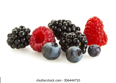 Blackberries, Blueberries and Raspberries Isolated On White Background