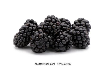 blackberries - closeup shot of fresh and juicy blackberries in high detail on white background