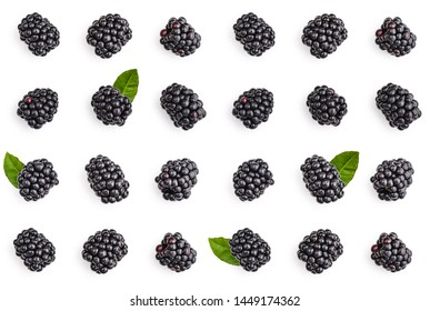 Blackberries isolated on white background,  top view, flat lay pattern.