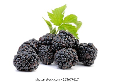 Blackberries with leaf isolated on white, Healthy berries.