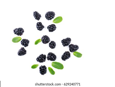 Blackberries and leaves top view