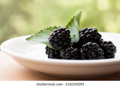 Blackberries on a white plate with mint leaves closeup