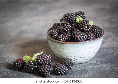 Blackberries picked in Italy. Minimalistic composition.