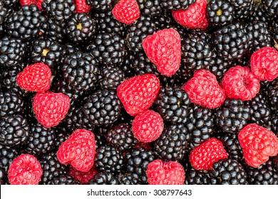 Blackberries and raspberries pattern.