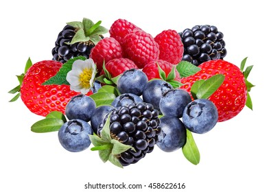 Blackberries ,raspberries ,strawberry and blueberries, isolated on white background.