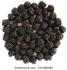 BlackBerry, bramble, dewberry. Ripe fresh large blackberry berries with green leaf isolated on white background.