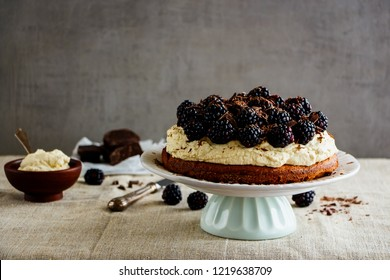 Blackberry chocolate cake with mascarpone cream