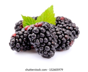 Blackberry fruit with leafs close up on white