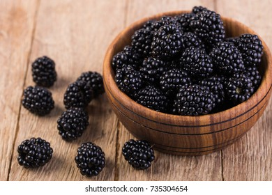 blackberry on a wooden table