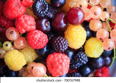 BlackBerry, raspberry, currant, berries closeup