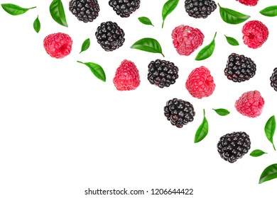 blackberry and raspberry with leaves isolated on white background with copy space for your text. Top view. Flat lay pattern