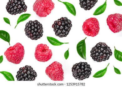 blackberry and raspberry with leaves isolated on white background. Top view. Flat lay pattern