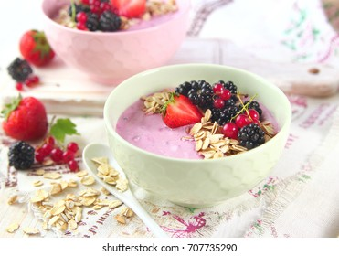 BlackBerry smoothie with fresh berries and cereal