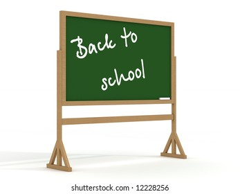 Blackboard with a chalk on a white background. 3D image.