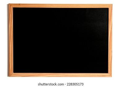 Blackboard or Chalkboard, Empty Slate Dark Coloured Board with Wooden Frame Isolated on White