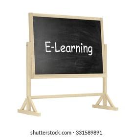 blackboard, chalkboard isolated on white, e-leraning concept