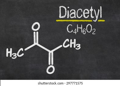 Blackboard with the chemical formula of  Diacetyl