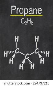Blackboard with the chemical formula of Propane