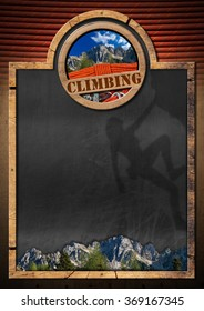 Blackboard for Climbing Sport / Empty blackboard with wooden frame, symbol of climbing sport with mountaineering equipment and a mountain peak. Template for climbing sport