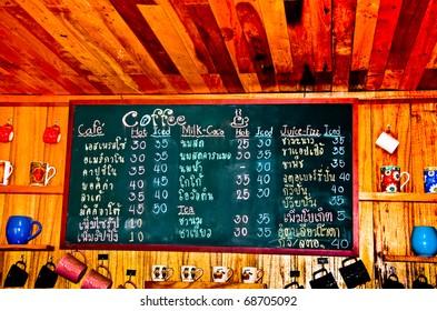 The Blackboard of coffee menu
