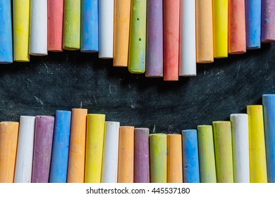 Blackboard and colored chalk
