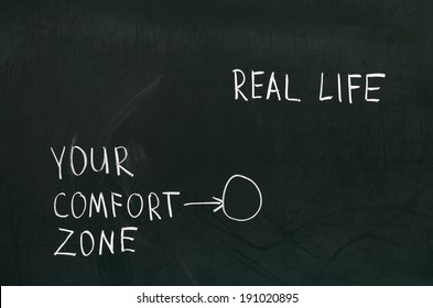Blackboard concept for leaving your comfort zone behind and moving in to the real life