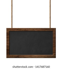 Blackboard with dark wooden frame hanging on ropes isolated on w