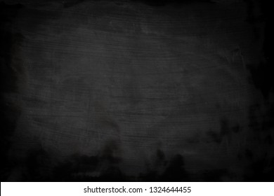 Blackboard dirty grunge texture with copyspace. Abstract chalk rubbed out on blackboard or chalkboard background. Wallpaper with empty template and chalk traces or massage concept for all your design.