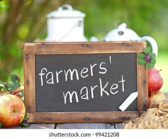 Blackboard, farmers' market