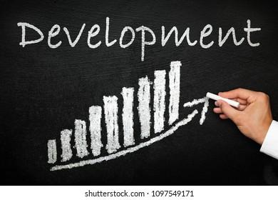 Blackboard with handwritten development text. Arrow going upwards and stack chart. Development and progress concept.
