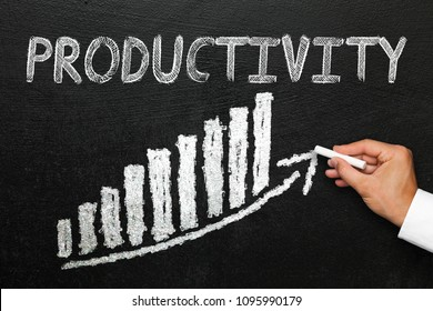 Blackboard with handwritten productivity text. Arrow going upwards and stack chart. Productivity and progress concept.