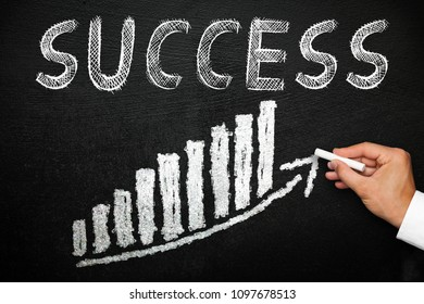 Blackboard with handwritten success text. Arrow going upwards and stack chart. Goal and progress concept.