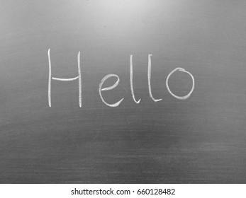 Blackboard with hello