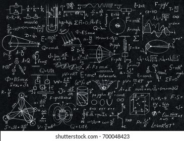 Blackboard inscribed with scientific formulas and calculations in physics.