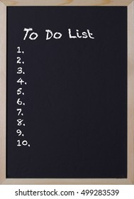 blackboard with an item to do list for ten items