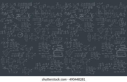 A blackboard with mechanical formula. A Contemporary style.  flat design illustration isolated black background. Horizontal layout