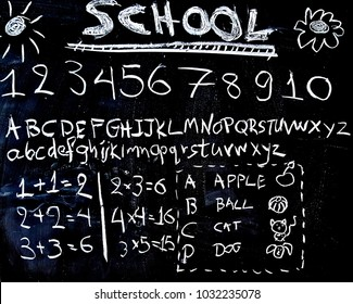 A blackboard with numbers, the alphabet, some simple math and drawings.