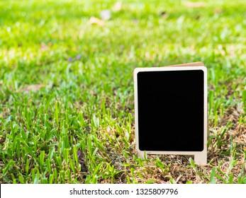Blackboard on green grass.
