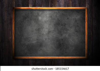 Blackboard on wood wall
