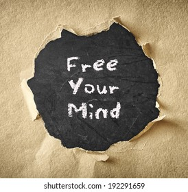 blackboard with the phrase free your mind