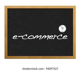 Blackboard with the phrase written e-commerce.
