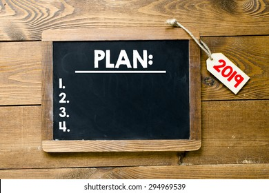 Blackboard with plan for 2019