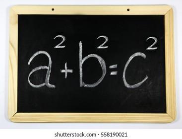 Blackboard with Pythagoras theorem