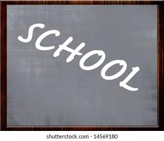 blackboard with 'school' written on it in chalk