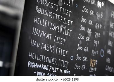 Blackboard in a shop