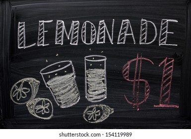 Blackboard Sign advertising Lemonade for sale. The first step to becoming an entrepreneur and running your own business.