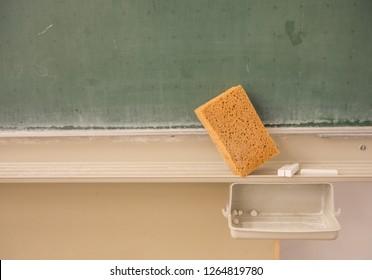 blackboard with sponge