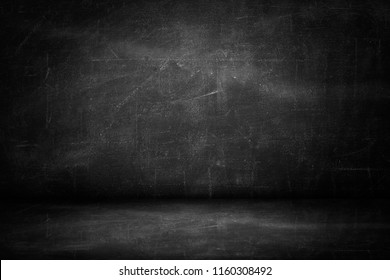 blackboard texture wall and black background, copy space horizontal studio